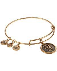 ALEX AND ANI - Metallic Initial Y Charm Bangle - Lyst