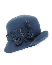 Eric Javits | Blue Papillon Butterfly-detail Wool Cloche | Lyst