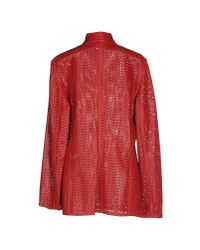 Blue Les Copains - Red Full-length Jacket - Lyst