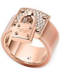 Michael Kors - Pink Rose Gold-tone Padlock Ring - Lyst