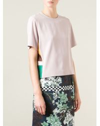 MSGM | Pink Colour Block T-shirt | Lyst
