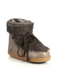 Ikkii - Brown Leather and Rabbit-Fur Moon Boots - Lyst