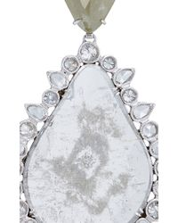Nina Runsdorf - Metallic 18k White Gold Slice Diamond Pear Shape Earrings - Lyst