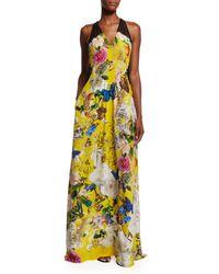 Roberto Cavalli - Yellow Sleeveless Floral-print Silk Crepe Gown - Lyst