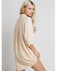 Free People - Natural Stella Shirt Dress - Lyst