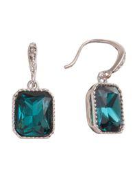 Carolee | Metallic Rectangular Green Glass Crystal Drop Earrings | Lyst