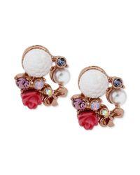 Betsey Johnson - White Rose Goldtone Multicharm Flower Stud Earrings - Lyst