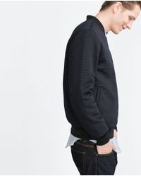 Zara   Blue Quilted Jacket for Men   Lyst