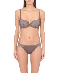 Calvin Klein - Gray Sensual Lace Push-up Bra - Lyst