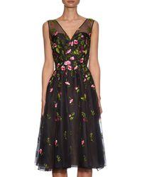 Oscar de la Renta - Black Embroidered Floral Silk-organza Dress - Lyst