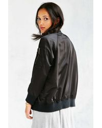 Members Only | Black Satin Bomber Jacket | Lyst