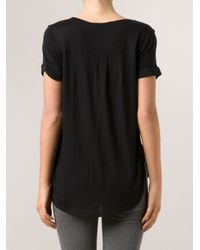 Vince - Black Shirt Tail Top - Lyst