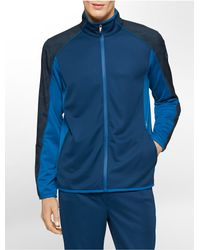 Calvin Klein | Blue Performance Classic Fit Geometric Print Mock Neck Track Jacket | Lyst