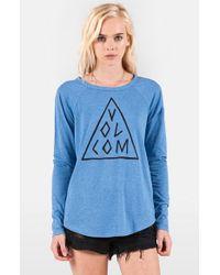 Volcom - Blue 'tripod' Long Sleeve Graphic Tee - Lyst