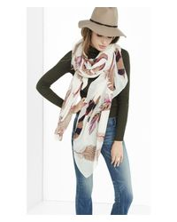 Express - White Feather Print Oblong Scarf - Lyst