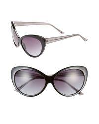 Kensie - Black 'maureen' 59mm Cat Eye Sunglasses - Lyst