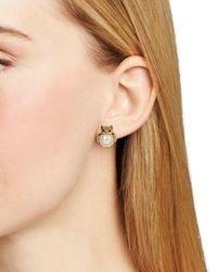 kate spade new york - Metallic Faux Pearl Owl Stud Earrings - Lyst