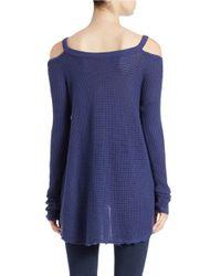 Free People | Blue Moonshine Cold-shoulder Sweater | Lyst