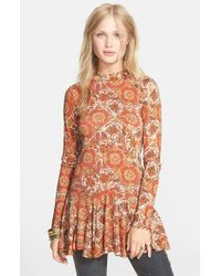Free People | Orange 'annabelle' Print Mock Neck Tunic | Lyst
