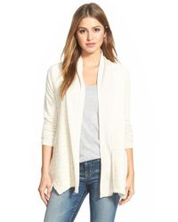 Lucky Brand | Natural Cable Texture Open Front Cardigan | Lyst