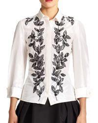 Carolina Herrera - White Embroidered Silk Blouse - Lyst