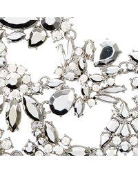 River Island - White Silver Tone Gem Flower Statement Bib Necklace - Lyst
