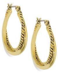 Lauren by Ralph Lauren - Metallic 14K Gold-Plated Textured And Smooth Twist Hoop Earrings - Lyst