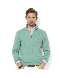 Ralph Lauren | Green Halfzip Cable Knit Tussah Silk Sweater for Men | Lyst
