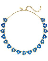 kate spade new york | 12k Gold-plated Blue Crystal Bouquet Small Necklace | Lyst