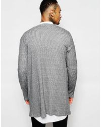 ASOS - Gray Super Longline Cardigan In Rib With Zip Pocket for Men - Lyst