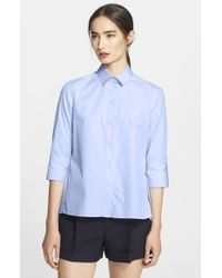 Valentino | Blue Cotton Poplin Blouse | Lyst