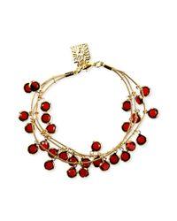 Anne Klein - Goldtone Red Beaded Shaky Bracelet - Lyst