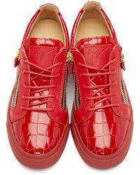 Giuseppe Zanotti - Red Croc-embossed London Sneakers for Men - Lyst