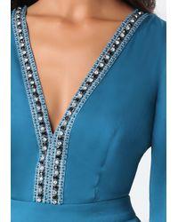 Bebe - Blue Embellished Deep V Romper - Lyst