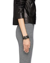 Valentino | Black 'rockstud' Double Wrap Leather Bracelet | Lyst