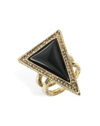 House of Harlow 1960 | Black Triangle Double Band Ring | Lyst