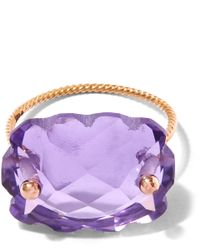 Laurent Gandini | Purple Rose Gold Amethyst Scalloped Ring | Lyst