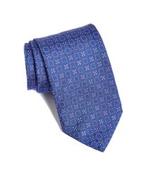 David Donahue - Blue Geometric Silk Tie for Men - Lyst