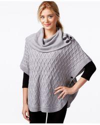 Calvin Klein | Gray Diamond-weave Knit Poncho | Lyst