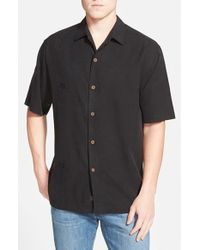 Tommy Bahama - Black 'aloha Floral' Silk Camp Shirt for Men - Lyst