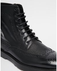 ASOS - Black Brogue Boots In Leather for Men - Lyst
