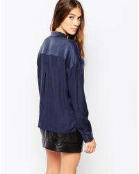 Gestuz | Blue Silk Zip Through Shirt | Lyst