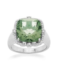 Lord & Taylor | Sterling Silver Green Amethyst And Diamond Ring | Lyst