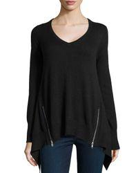 Acrobat - Black Cashmere-Blend Zip-Detailed Handkerchief Sweater - Lyst