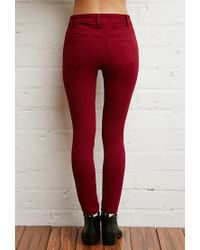 Forever 21 | Red Mid-rise Skinny Jeans You've Been Added To The Waitlist | Lyst