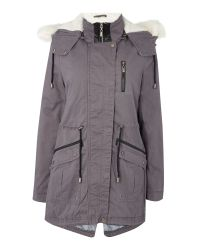 Bellfield | Gray Parka With Detachable Faux Fur Hood | Lyst