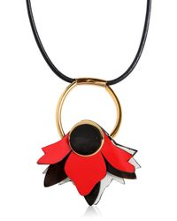 Marni | Red Leather Flower Pendant Necklace | Lyst