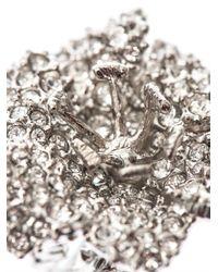 Alexander McQueen - Metallic Crystalembellished Flower Ring - Lyst