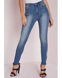 Missguided | Hustler Mid Rise Skinny Jeans Retro Blue | Lyst
