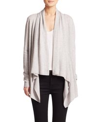 Saks Fifth Avenue | Gray Cashmere Cascade Cardigan | Lyst
